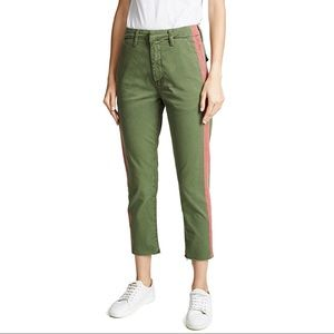 NWT MOTHER Shaker Prep Crop Fray Jeans Green Red